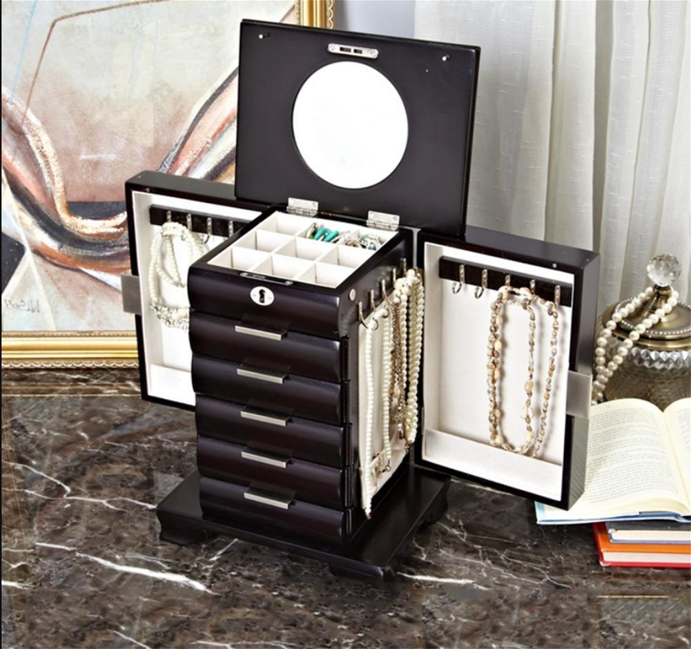 LUCKYYAN High - grade Solid wood Jewelry Box Band lock Large - capacity Jewelry Storage Box Wedding Birthday Gift , chocolate color