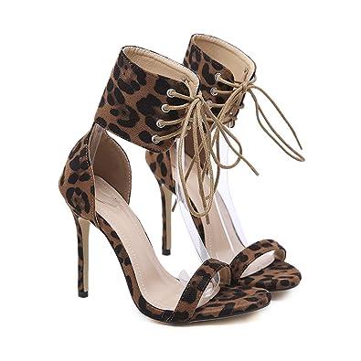 fe4541f3473 Amazon.com | Women Ankle Strap Sandals High Heels Pumps Leopard ...