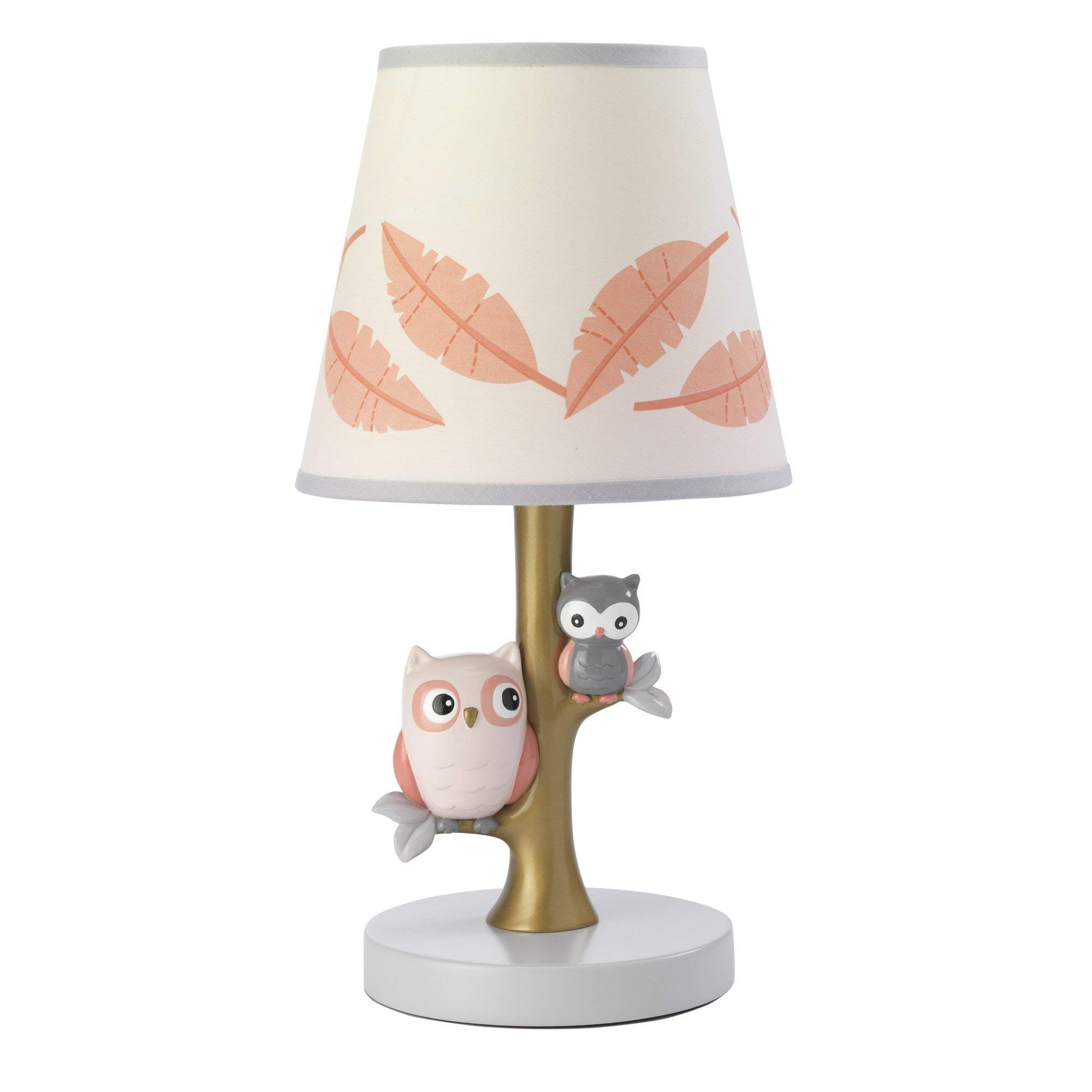 Lambs & Ivy Family Tree Coral/Gray/Gold Owl Lamp with Shade & Bulb