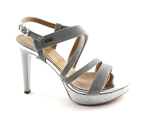 NERO GIARDINI 17890 ghiaccio argento scarpe donna sandali tacco glitter eleganti