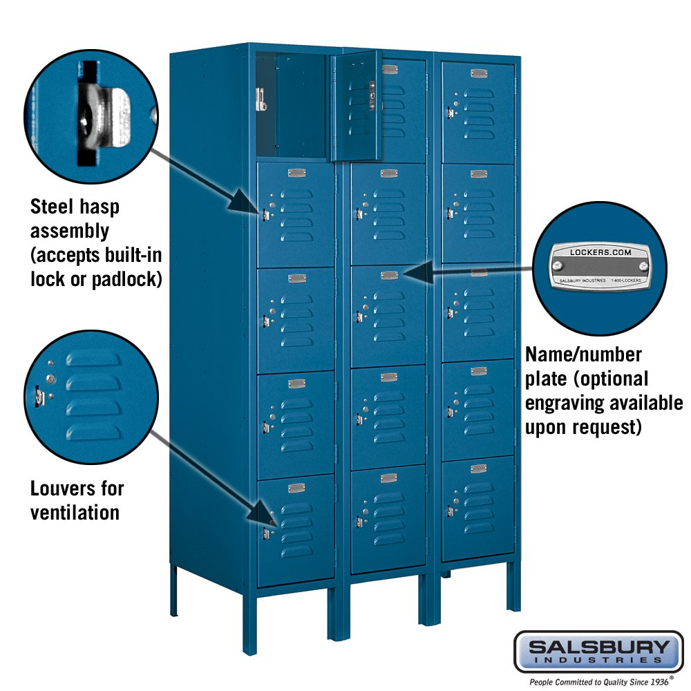 Salsbury Industries 65358BL-U Five Tier Box Style 36-Inch Wide 5-Feet High 18-Inch Deep Unassembled Standard Metal Locker, Blue by Salsbury Industries (Image #2)
