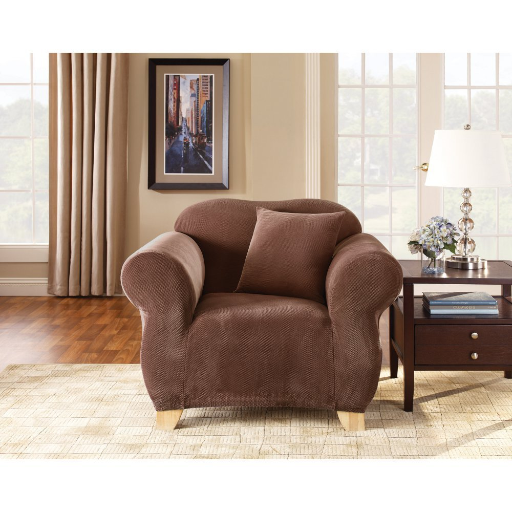 Sure Fit Stretch Pique Knit  - Chair Slipcover  - Chocolate (SF35098) by Surefit