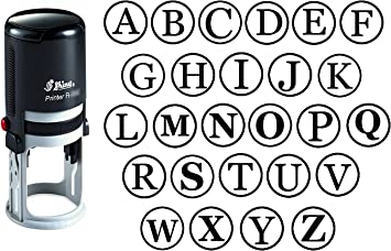 Custom A-Z Alphabet Stamp in Blue Ink Monogram Round Rubber Stamp Self Inking Initial Stamp SHINY Mini Stamper 20 mm