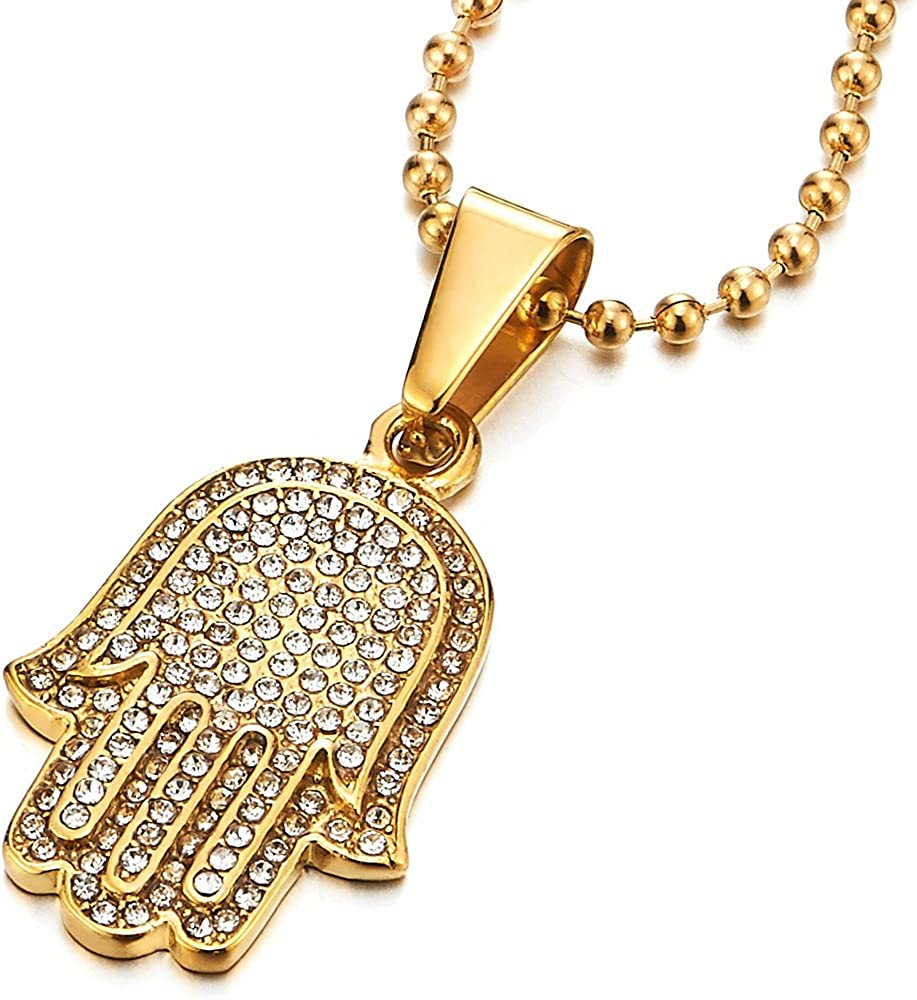 COOLSTEELANDBEYOND Mens Womens Evil Eye Protection Pendant Necklace Gold Steel with Cubic Zirconia 23.6 in Ball Chain