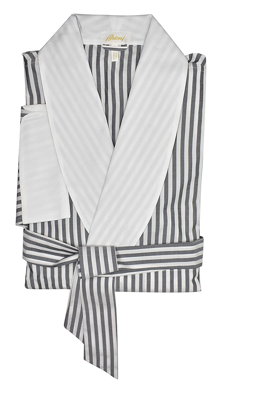 Brioni Mens Gray White Striped Belted Cotton Robe