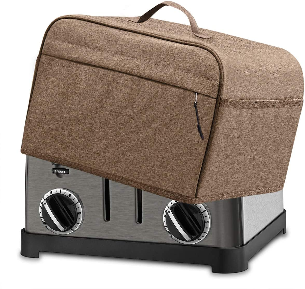 INMUA 4 Slice Toaster Cover with 2 Pockets, Toaster Appliance Cover with Top handle, Dust and Fingerprint Protection, Machine Washable (Brown)