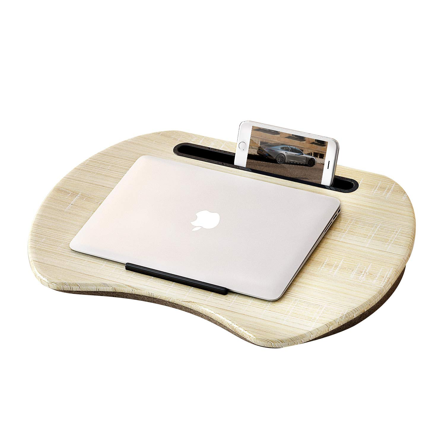 """HOME BI Lap Desk, Portable Laptop Table with Phone Tablet Holder, Fits up to 15"""" Laptop and 9.7'' Tablet (Grey)"""