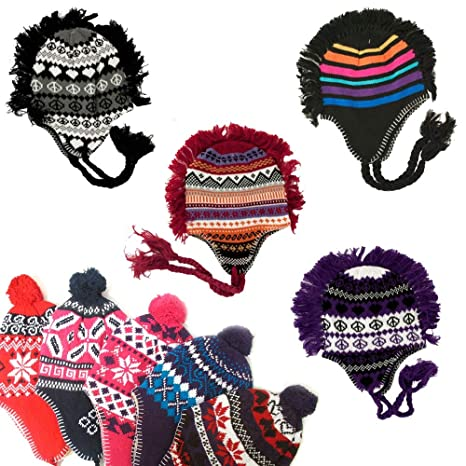 067f4ae35693d Image Unavailable. Image not available for. Color  1 Unisex Peruvian Winter  Ear Flap Muff Ski Hat Kids Teens Skully Beanie Cap Snow