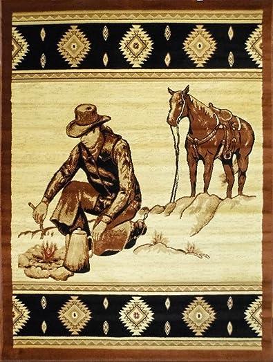 Cowboy Area Rug Design Lodge 371 7 Feet 7 Inch X 10 Feet 6 Inch