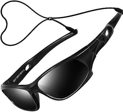 2ff7573249 ATTCL Mixte Enfant Sport Lunettes De Soleil Polarisées UV400 Ultra Léger  Flexible Cadre 5025 black black