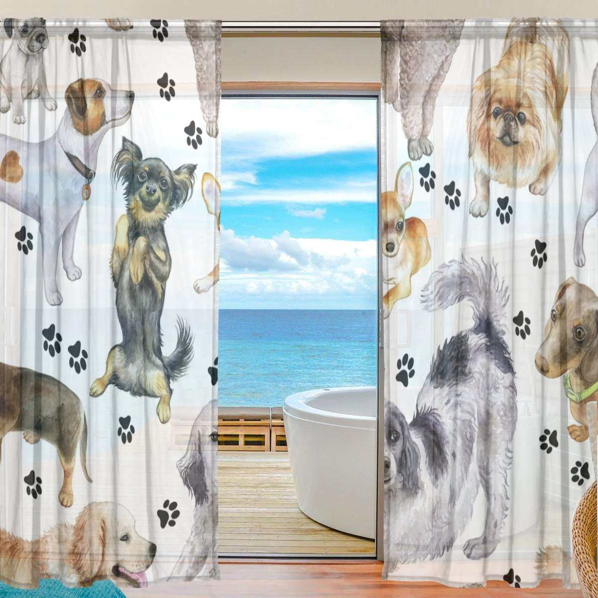 SEULIFE Window Sheer Curtain, Cute Animal Dog Paw Print Black Voile Curtain Drapes for Door Kitchen Living Room Bedroom 55x78 inches 2 Panels by SEULIFE