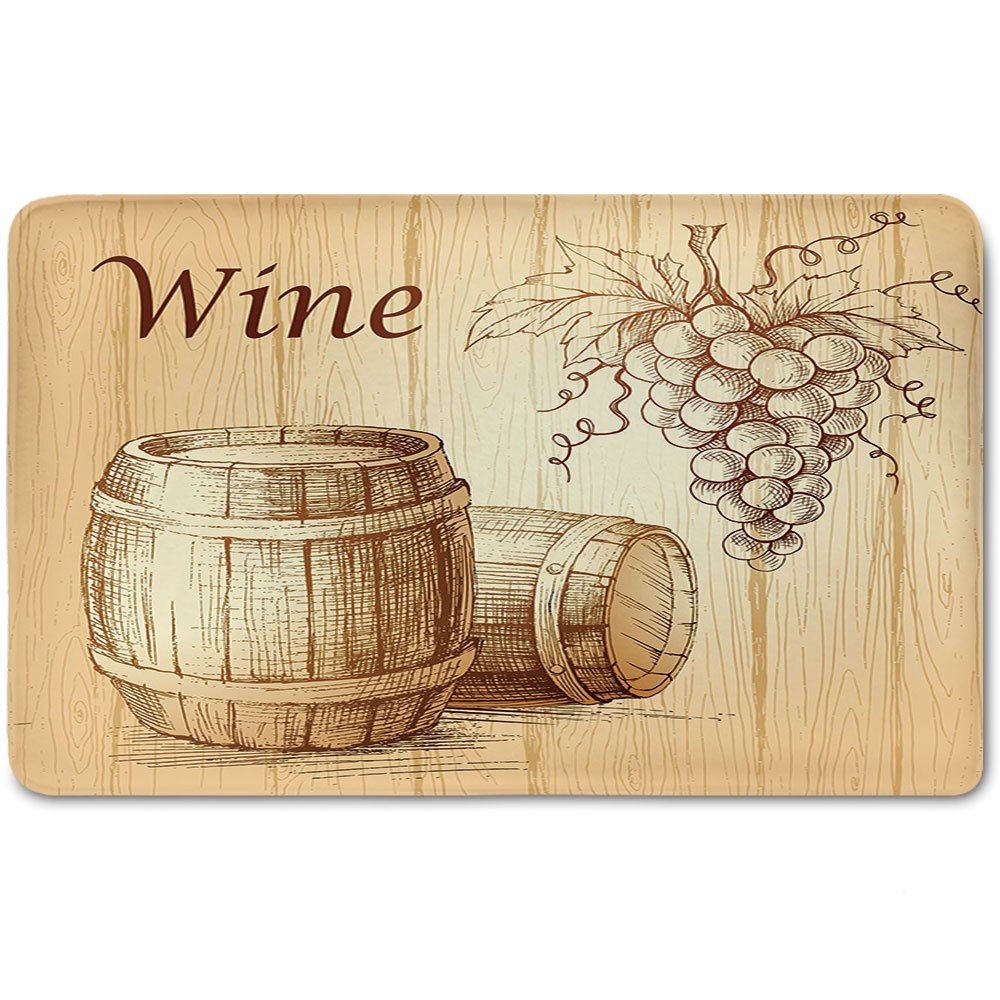 Memory Foam Bath Mat,Wine,Wooden Barrels and Bunch of Grapes on Wood Backdrop Botany Harvest Theme Artwork DecorativePlush Wanderlust Bathroom Decor Mat Rug Carpet with Anti-Slip Backing,Brown Peach by iPrint (Image #1)