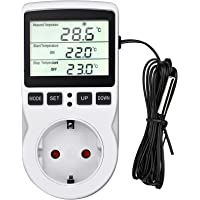 Termostato Enchufe Digital, Temporizador Digital Programador con Sonda, Toma Temporizador Digital para Incubadora…