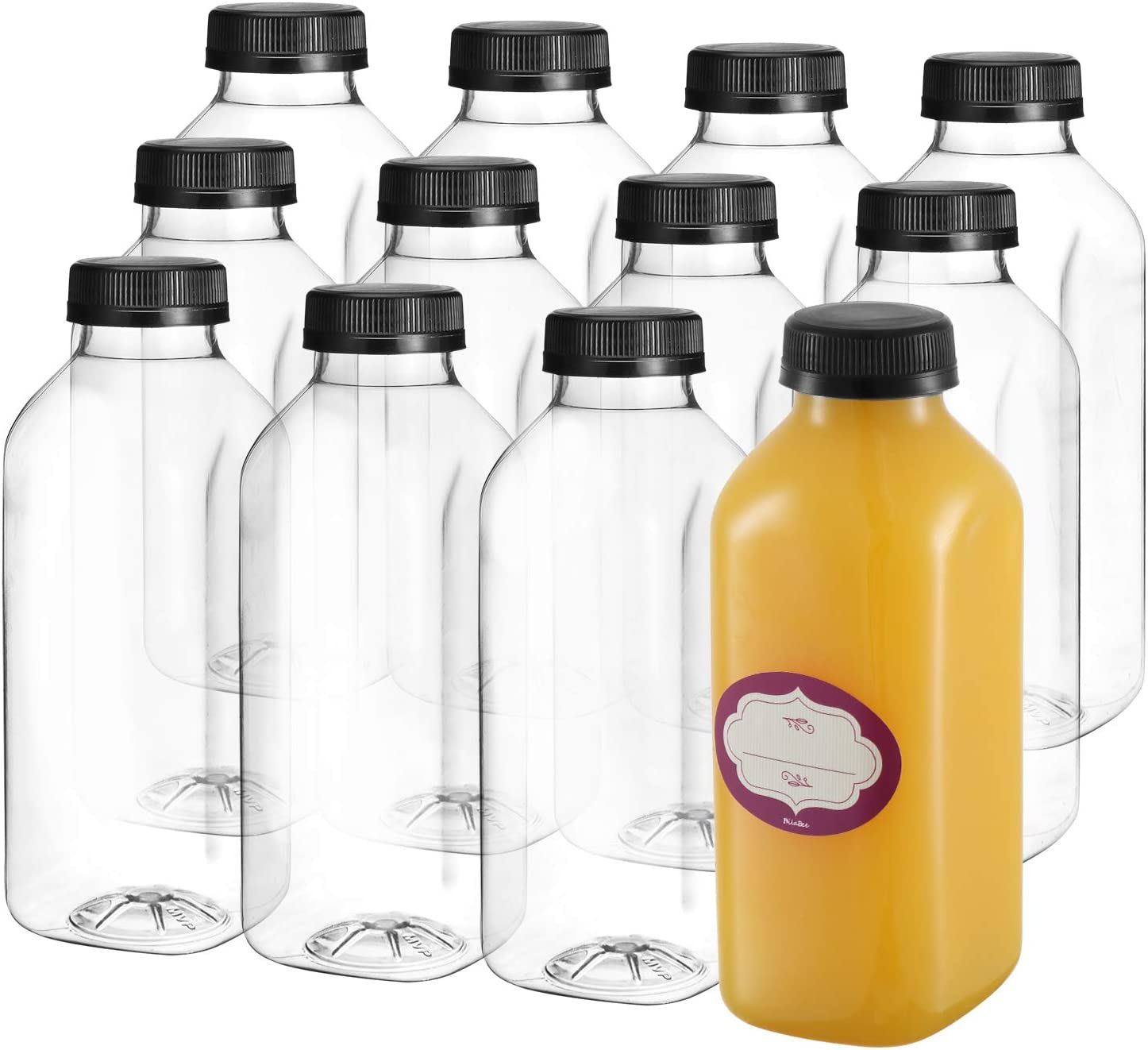 16 Oz Empty Plastic Juice Bottles with Lids – 12 Pack Large Square Drink Containers - Great for Storing Homemade Juices, Water, Smoothies, Tea and other beverages - Food Grade BPA Free