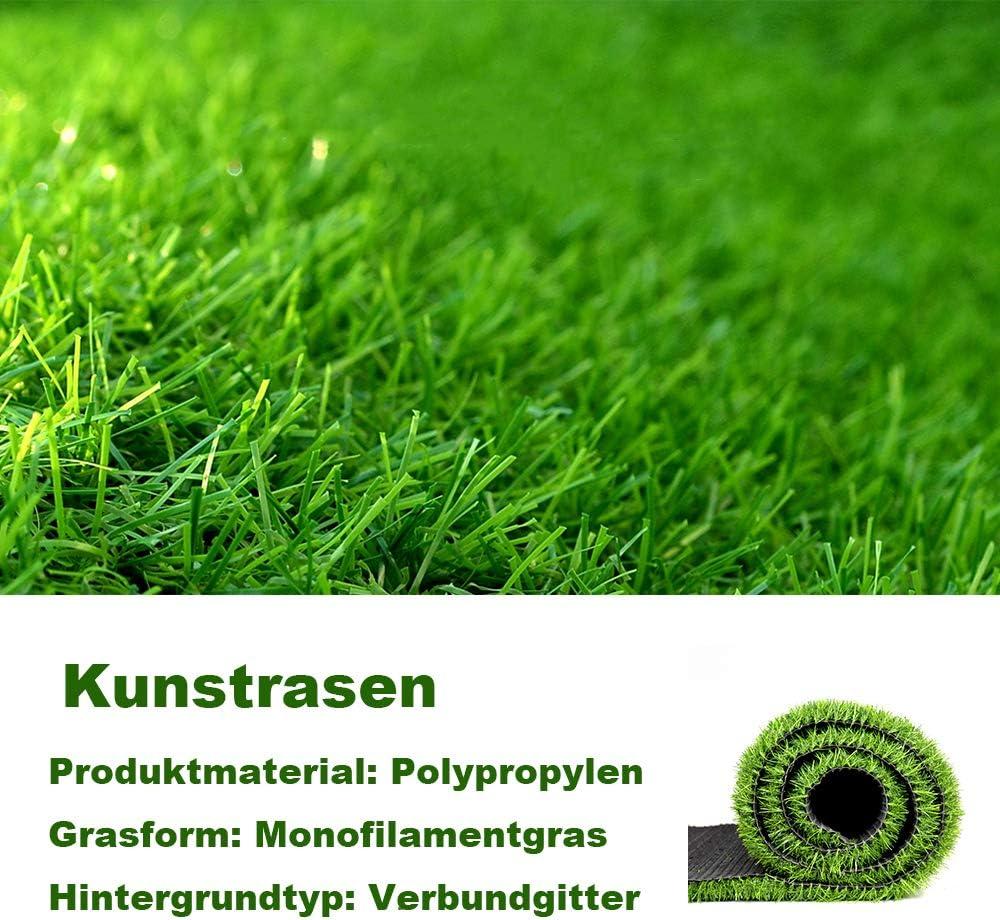 PUCHIKA Kunstrasen f/ür Balkon und Garten Rasenteppich gr/ün mit 20mm Noppen Rollrasen mit Meterware f/ür Terrasse Wasserdurchl/ässig