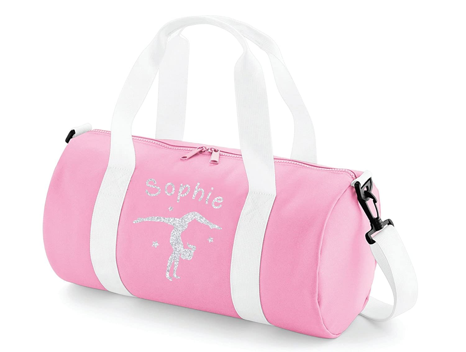 Absolutely Top Girls Personalised Gymnastics Handstand Glitter Barrel Bag