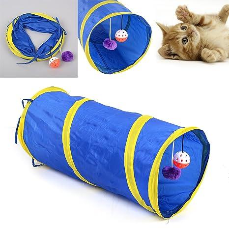 Pecute Túnel Tunel Plegable para Gatos Conejos Perros Mascotas con Cascabeles, largo de 55cm,