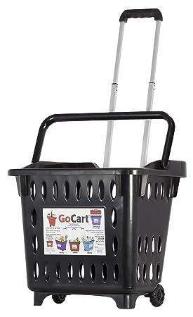 Gocart, Negro Cesta de la Compra de la Compra con Ruedas Carrito de lavandería: Amazon.es: Hogar