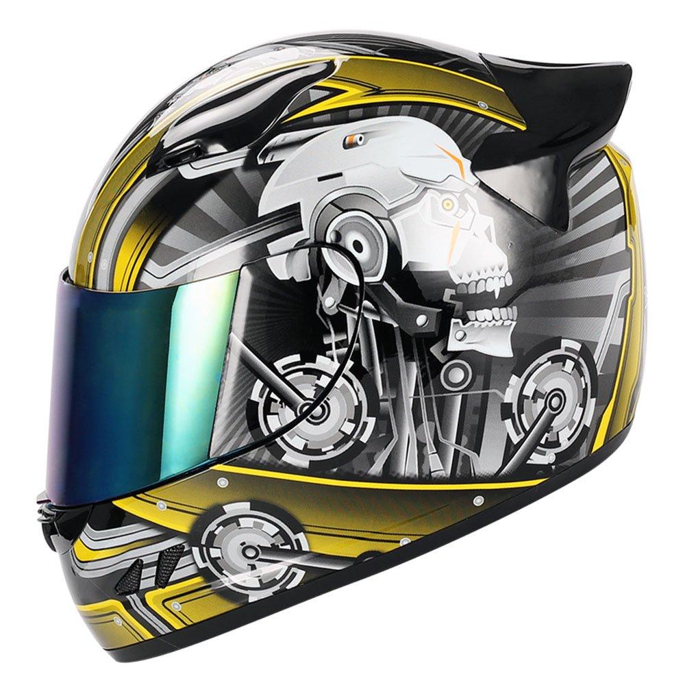 1STORM MOTORCYCLE BIKE FULL FACE HELMET MECHANIC GLOSSY BLACK