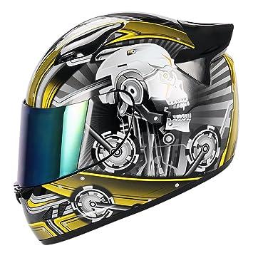 1storm motocicleta bicicleta Full Face casco mecánico calavera – Visera tintada, color Skull Yellow,