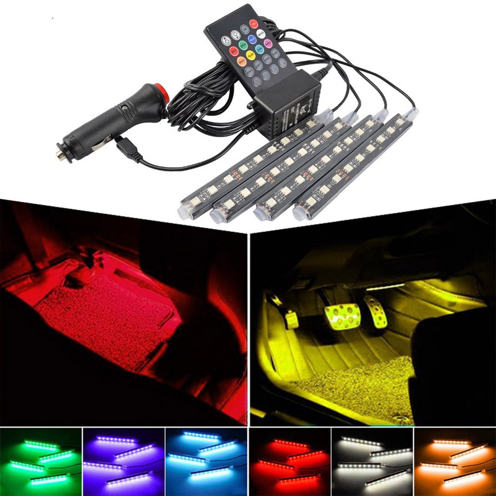 Car Interior Lights - TaiTian Multicolor Music Car LED Strip Light LED Under Dash Lighting Kit with Sound Active Function and Wireless Remote Control, Car Charger Included 4pcs 36 LED DC 12V