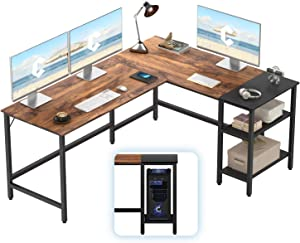 CubiCubi L-Shaped Computer Desk, Industrial Office Corner Desk Writing Study Table with Storage Shelves, Space-Saving, Dark Rustic