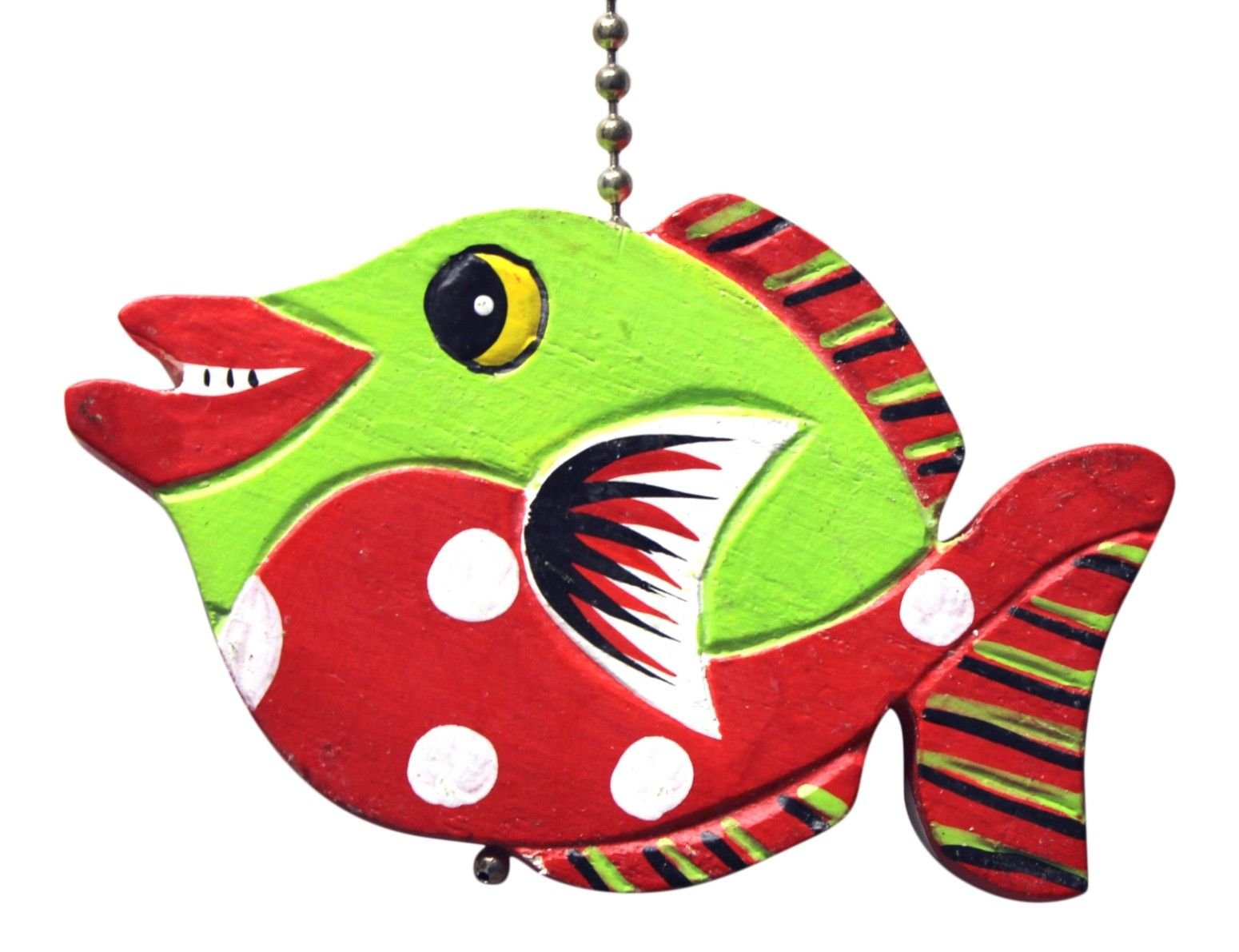 Gatton Green and Red Tropical Fish Ceiling Fan Light Pull Hand Carved Wood by Gatton