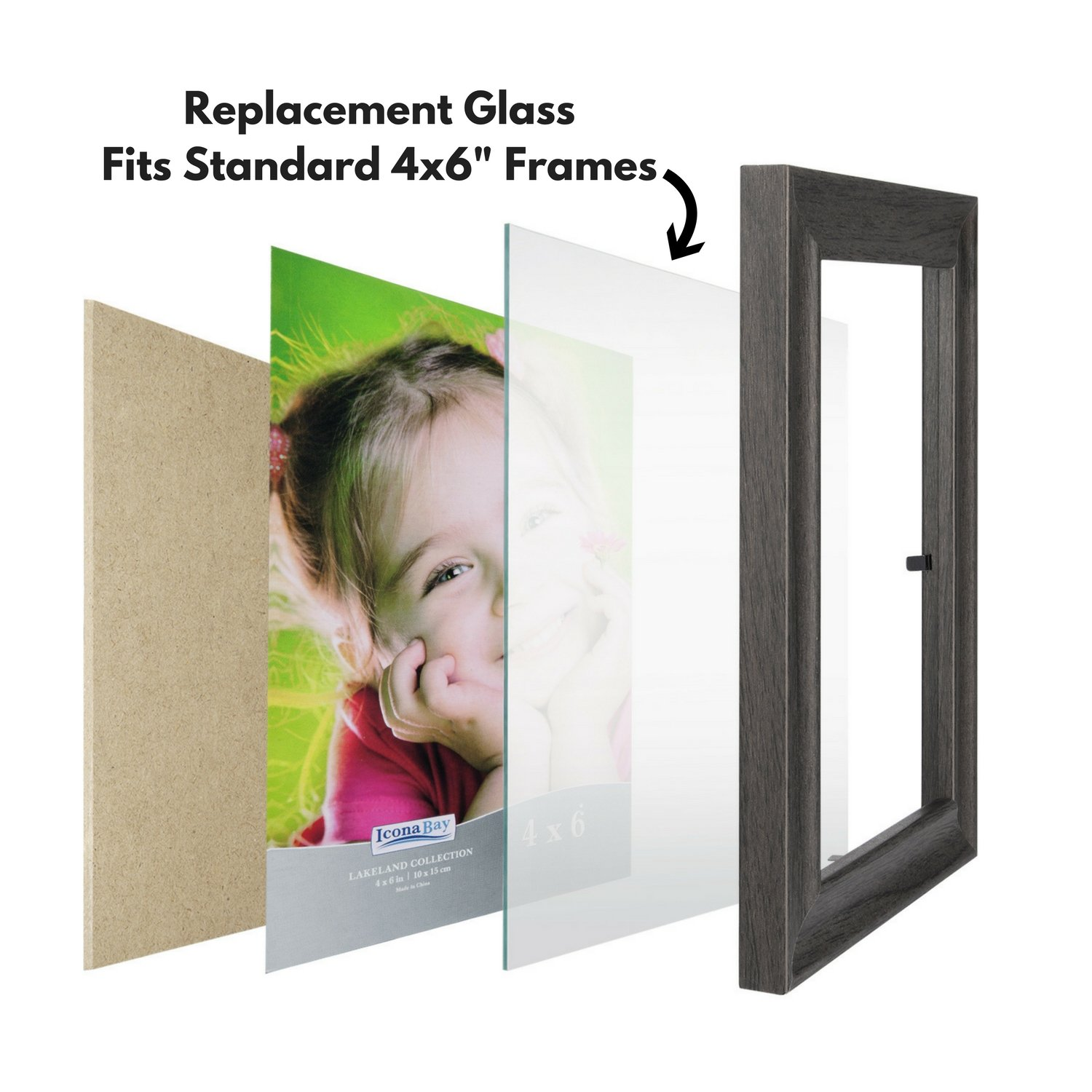 Amazon.com - Icona Bay 4x6 Picture Frame Glass Replacement (4 x 6, 2 ...