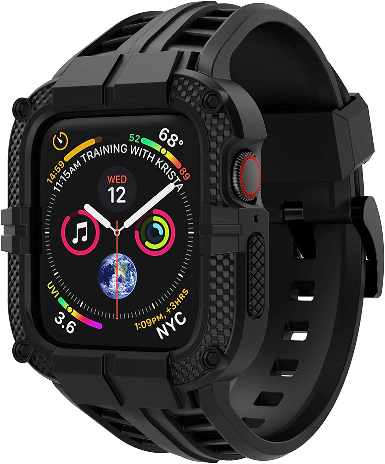 T-ENGINE Band Compatible with Apple Watch Band 40mm 38mm Series 6 Series 5/4/SE Series 3/2/1, TPU Rugged Band with Full Protection Case for Women/Men, Black