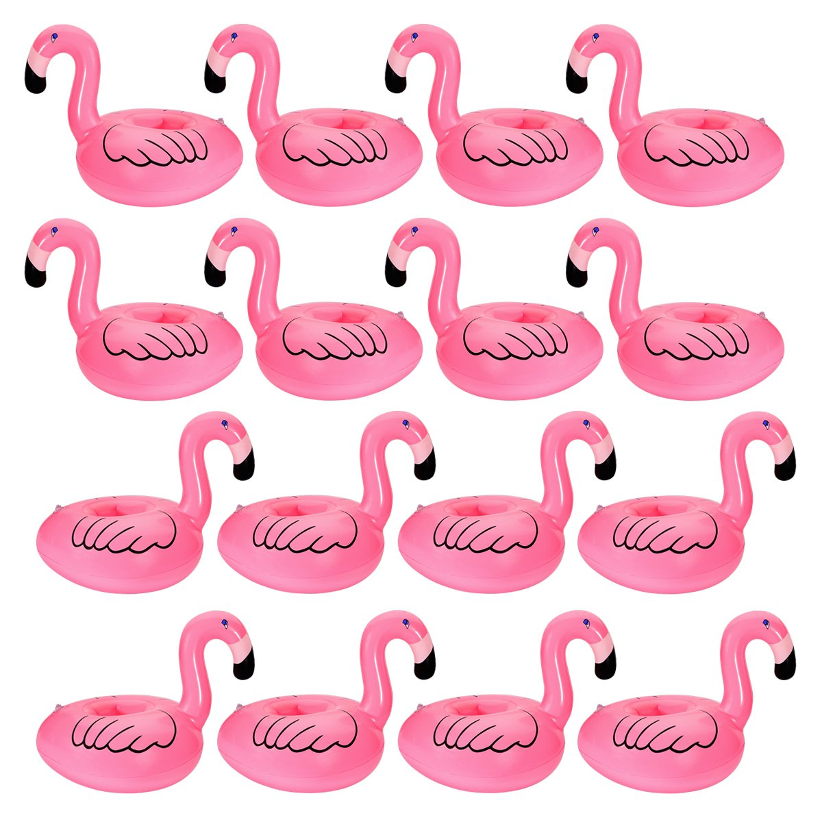 Inflatable Flamingo Coasters Cup Drink Holder (16 Pieces)