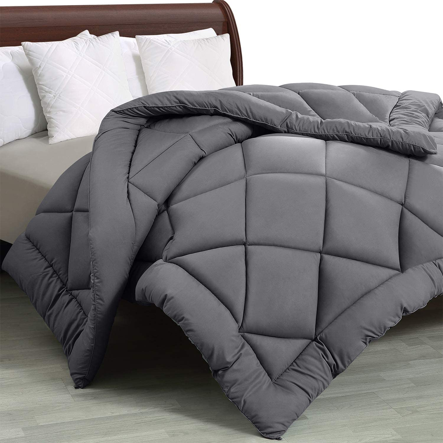 Utopia Bedding - All Season Quilted Duvet Insert - Goose Down Alternative Comforter - Full/Queen - Grey