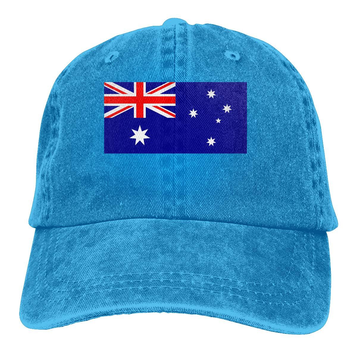 Australia Flag Unisex Trendy Denim Sun Hat Adjustable Baseball Cap