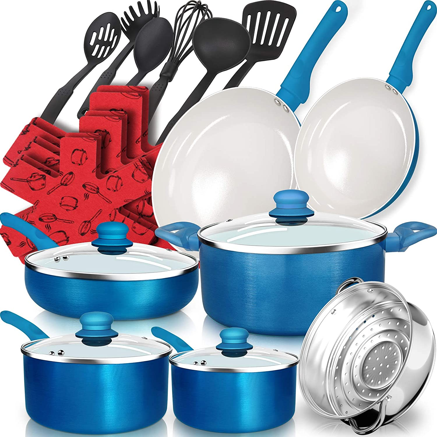 Dealz Frenzy 23-Piece Soft Grip Absolutely Healthy Ceramic Non-Stick Cookware Set with Stay Cool Silicone Handle,Dishwasher Safe,Oven Safe, Pots and Pans Set,Scratch Resistance,Ocean Blue,Easter Gift!