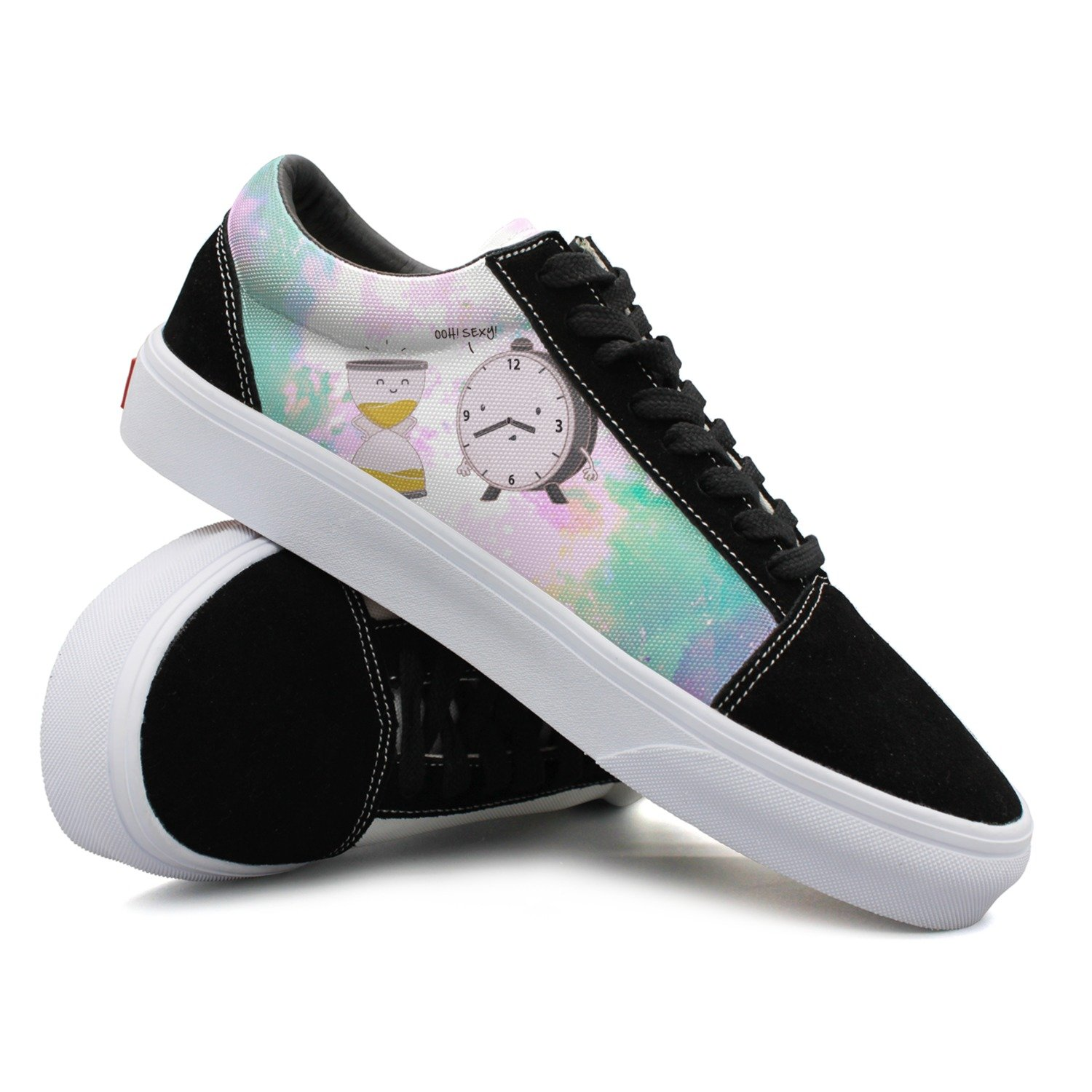 Hiokl Clock And Hourglass Ohh ! Women's Low-top Canvas Skate Shoe Comfortable Suede Sneakers