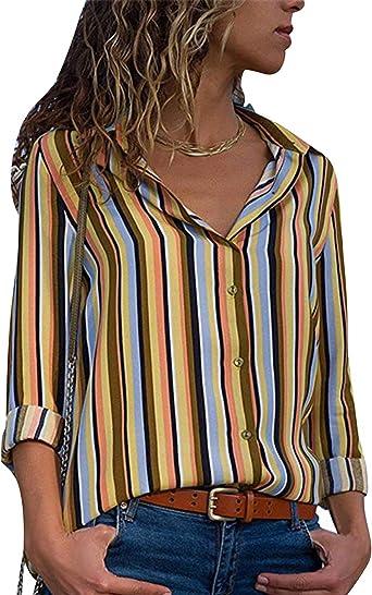 Camisa de Gasa Mujer Blusas a Rayas Escote V Blusa Manga Larga Camisas Oficina Señora Top Camiseras Estampadas Elegantes Camisetas Cuello V Blusones Blusa Vestir Formales Fiesta Largas Primavera: Amazon.es: Ropa y