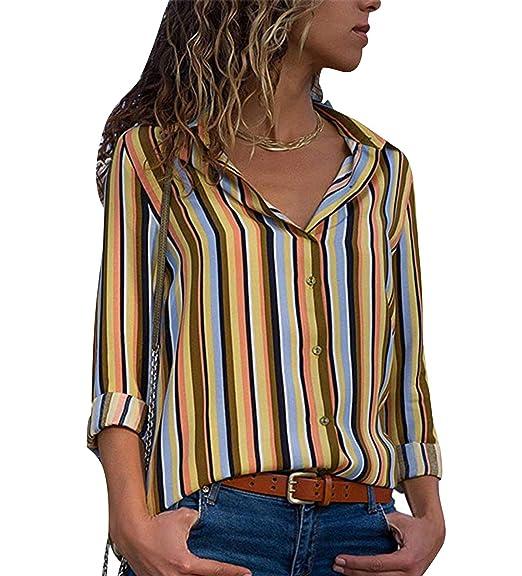 f35e85c88 Camisa de Gasa Mujer Blusas a Rayas Escote V Blusa Manga Larga Camisas  Oficina Señora Top