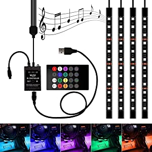 Henlight Car LED Strip Lights 4pcs 48 LED Multicolor Music Car Interior Light LED Under Dash Lighting Kits, USB Port LED Strip DC 12V with Sound Active Function and Wireless Remote Control