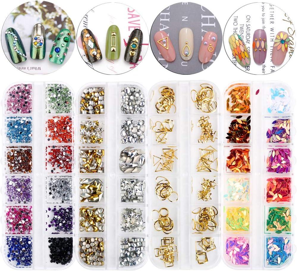 FLOFIA Juego 4 Cajas Decoración Adornos de Uñas Piedras 3D Pedrería Cristales de Uñas Diamantes Rhinestones Nail Glitter para Arte de Uñas Gel 48 Cajitas de Estilos Colores Mezclados