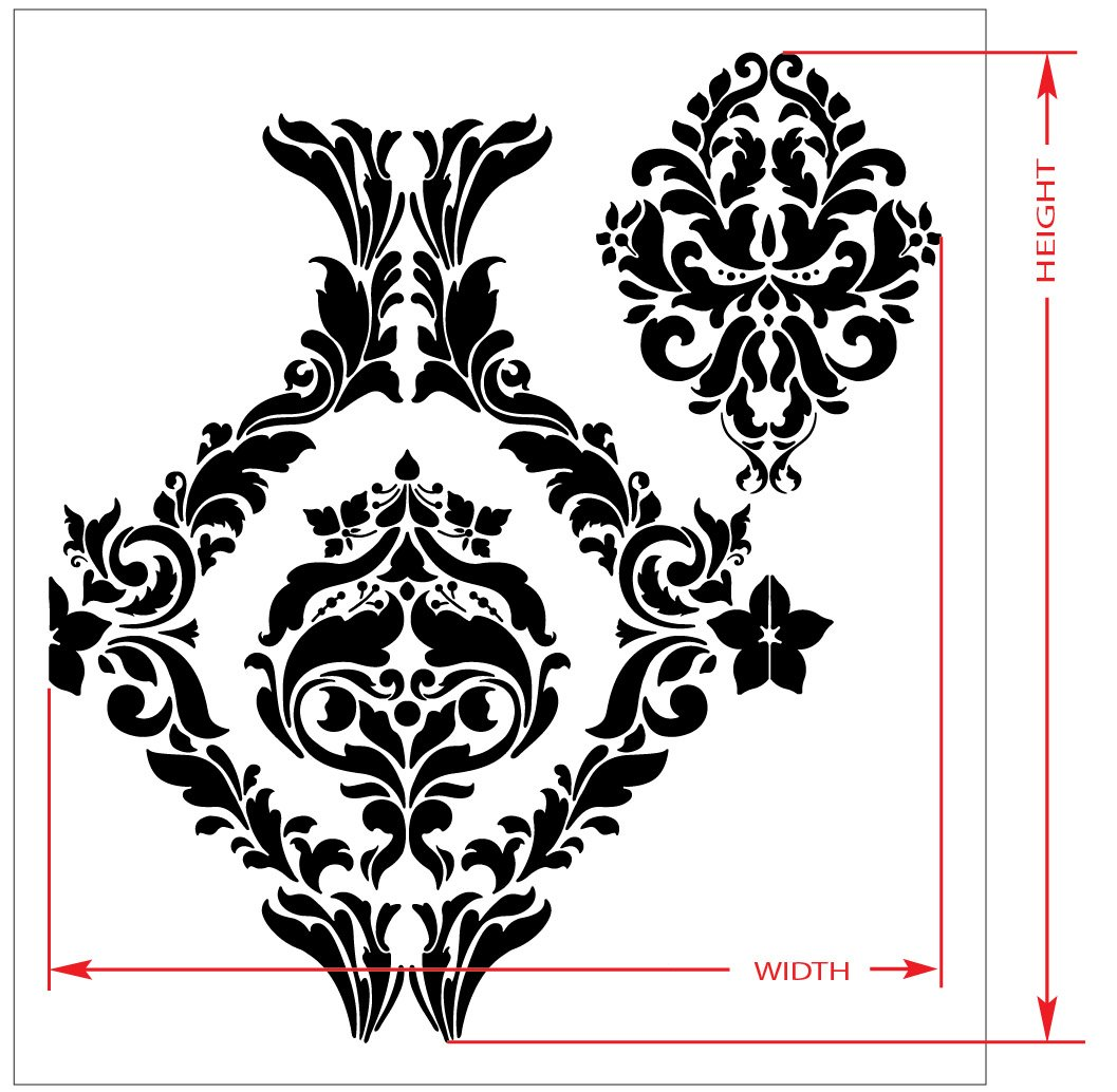 Large wall damask stencil faux mural design 1007 13x14 48 large wall damask stencil faux mural design 1007 13x14 48 stencils for walls amazon amipublicfo Image collections
