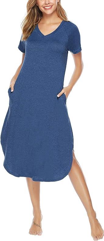 Aibrou Camisón Casual Mujer Algodón, Pijama Manga Corta Comodo y Elegante Ropa de Dormir para Mujer: Amazon.es: Ropa y accesorios