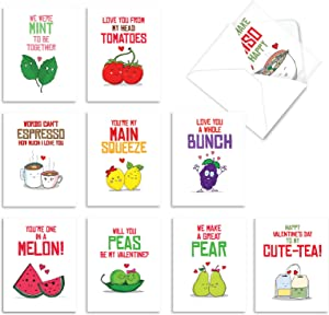 The Best Card Company - 10 Assorted Valentine's Day Note Cards (4 x 5.12 Inch) - Boxed Valentine Cards, Bulk Set with Envelopes - Romantic Yummy Puns M5659VDG-B1x10