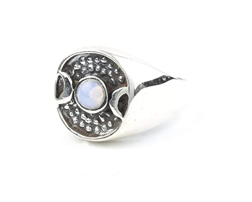 Sterling silver handmade jewelry SIZE 8 Opalite moon ring