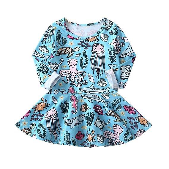 Vestidos Bebe Otoño, 🌸 Zolimx Bebé Niñas Animales Dibujos Animados Manga Larga Vestido Ropa