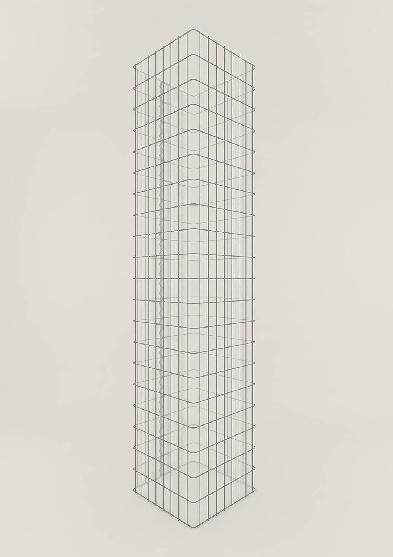 Säule Steinkorb-Gabione eckig, Maschenweite 5 x 10 cm, Höhe 200 cm, Spiralverschluss, galvanisch verzinkt (42 x 42 cm)
