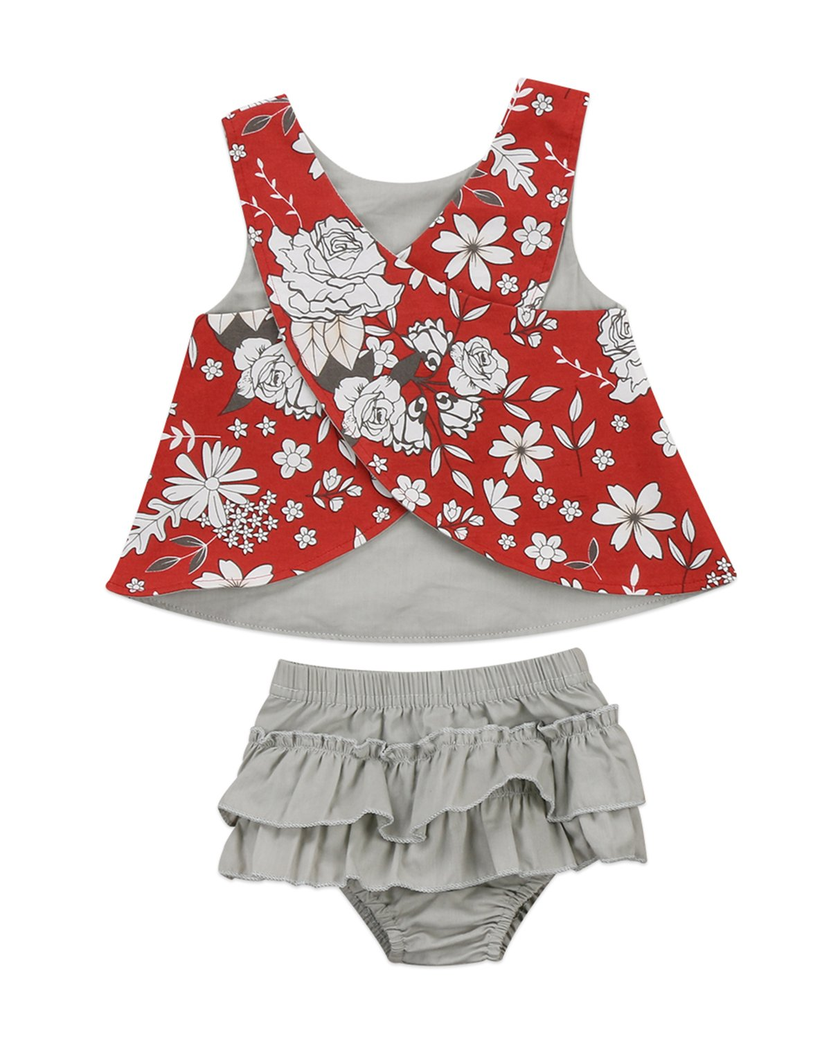 Infant Baby Girls Sleeveless Floral Vest Tops+Ruffle Tassel Short Pants Outfit