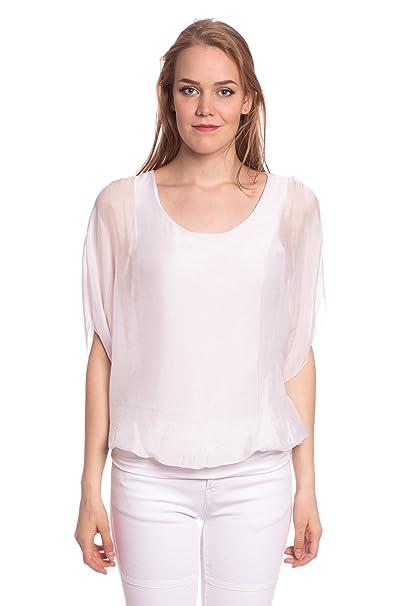 Abbino 7033 Blusa De Seda Blusa Top para Mujer - Hecho en ITALIA - 4 Colores