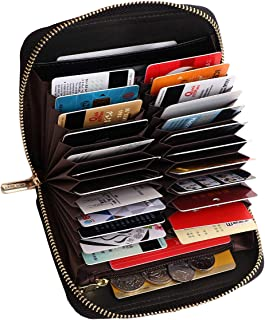 APHISONUK Women RFID Blocking Short Purse Genuine Leather Card Wallet Ladies Large Capacity Credit Card Holder Stylish Clutch Purse/24 Slots/Black/Gift Box