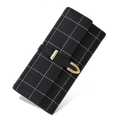 4757305cf9e0 Roomu レディース 財布 おしゃれ 可愛い 長財布 人気 PU レザー 大容量 ウォレット (ブラック)