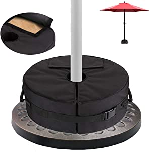 FINEST+ Patio Umbrella Base Weight Bag, 900D Waterproof UV Protection 18