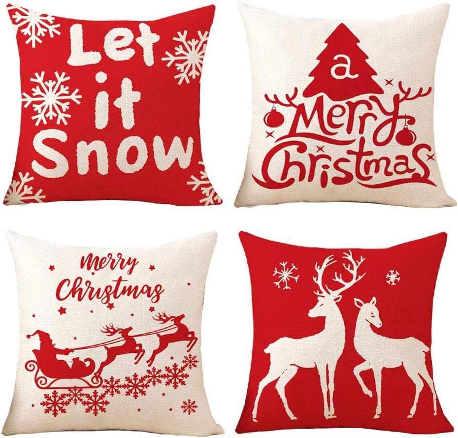 GALMAXS7 Christmas Pillow Covers 18x18 Set of 4 for Christmas Decor Farmhouse Christmas Decorations Christmas Tree Deer Snow Red Holiday Home Decor Throw Pillow Covers for Sofa,Bed,Couch